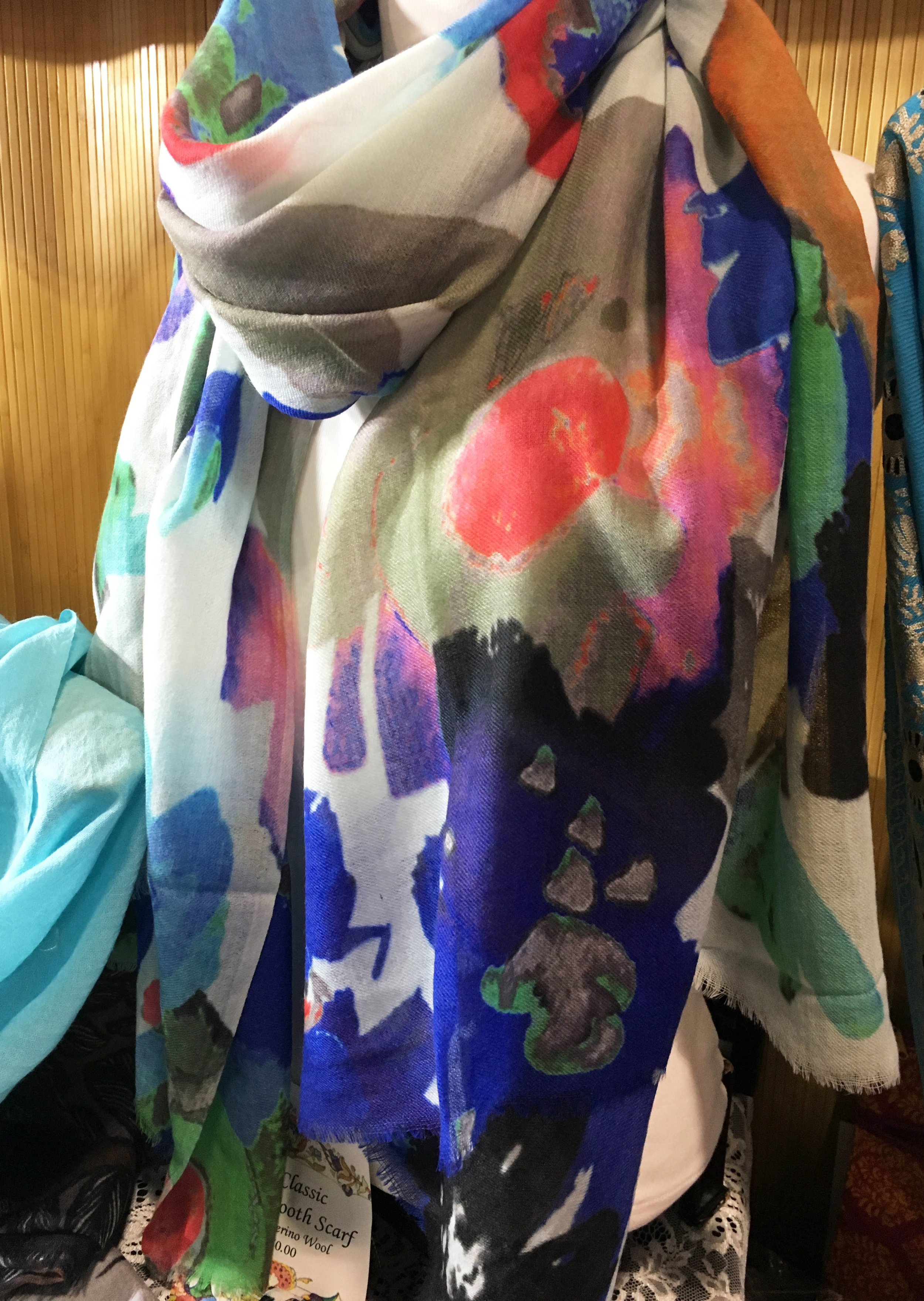 The beautiful Big Flower scarf on display to show the remarkable colors it has to offer
