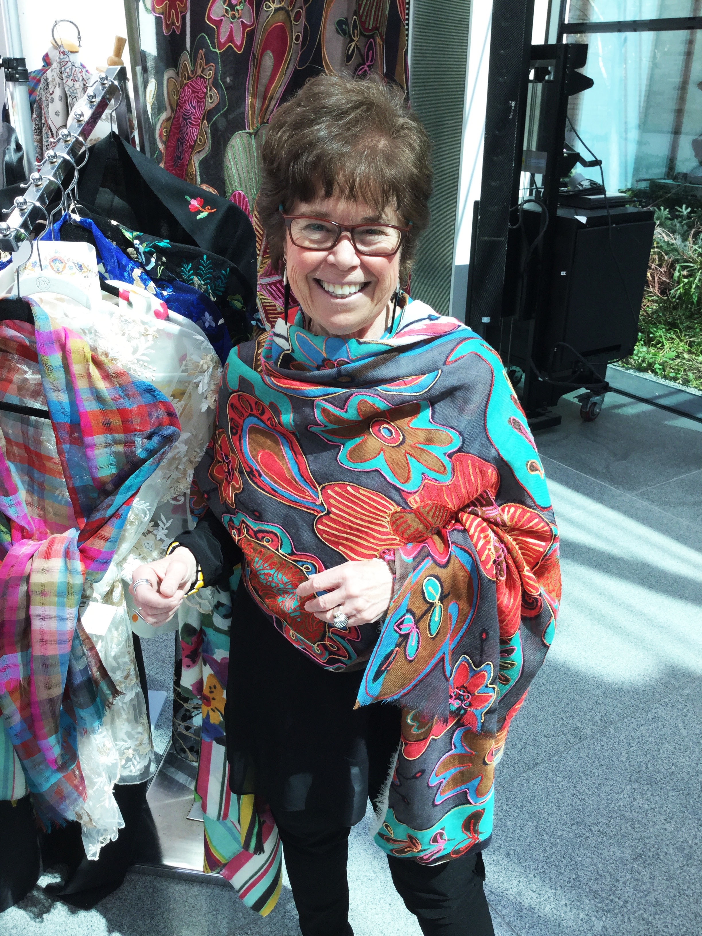 Our beautiful customer absolutely loving her Floral Embroidered scarf at the MFA Art in Bloom Boutique