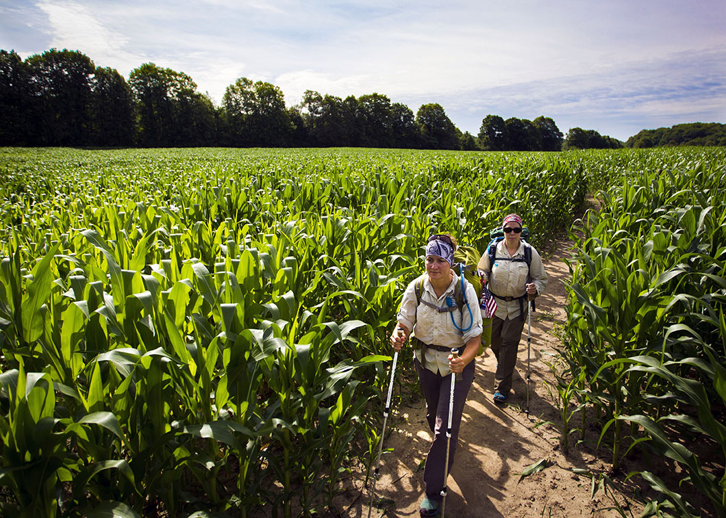 Natalie Koffarnus hikes through a corn field as Jenni Heisz follows on the Ice Age Trail as a part of the Warrior Hike Program on Thursday, July 16, 2015 in West Bend, Wi.