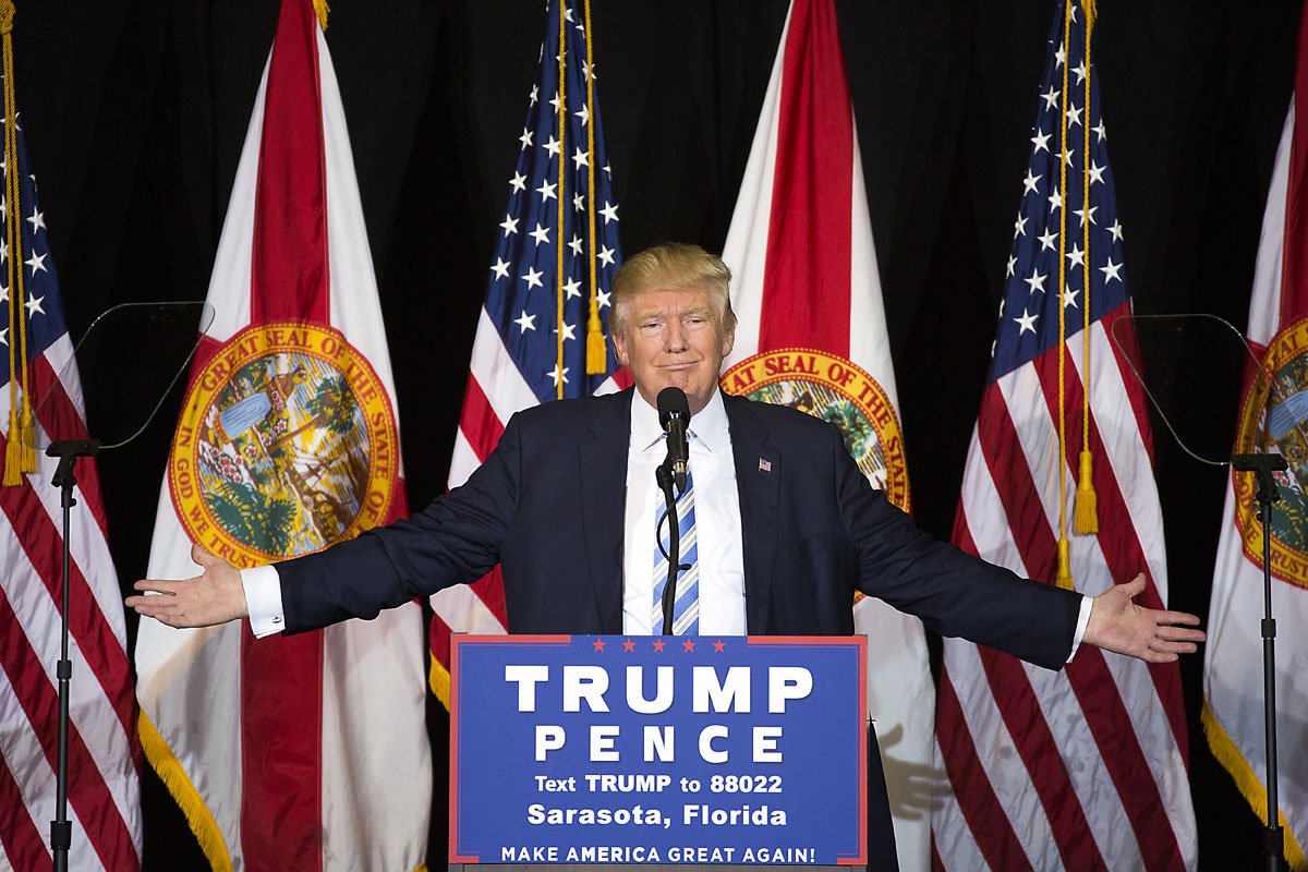 Republican candidate Donald Trump speaks at Robarts Arena on the Sarasota fair grounds on Monday, November 7, 2016 in Sarasota, Florida. Sarasota was the first of six stops before election day.