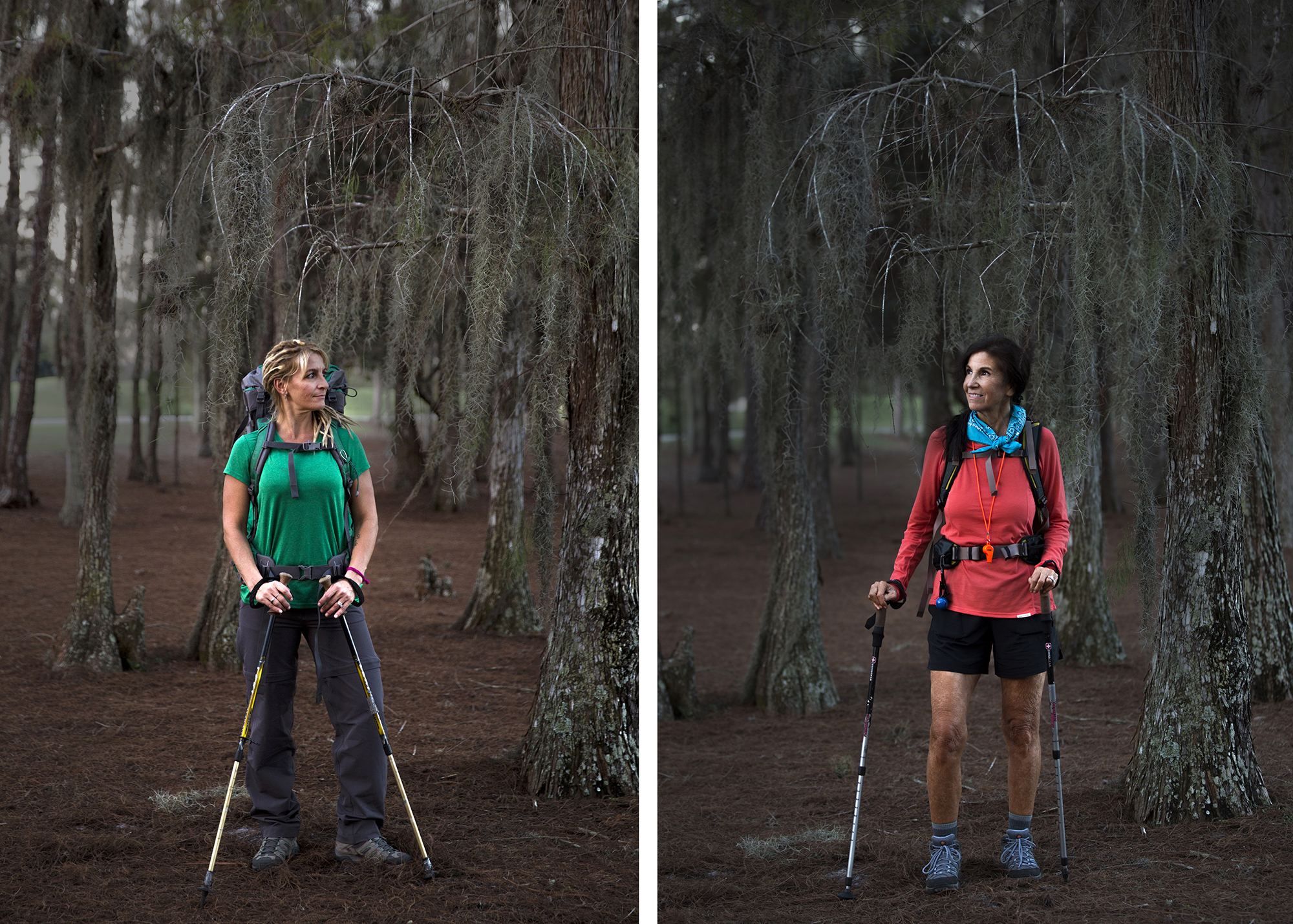 Lisa Maloney, left, and her mother, Margo Moulton Snyder, pose for portraits with their hiking gear on Friday, December 16, 2016 in Snyder's backyard in Golden Gate Estates. At the beginning of 2016, Snyder and her daughter committed to try the trail as a new year's resolution. They hiked three days, sleeping in lodges along the way, starting in Virginia's Shenandoah Valley in August. They have another adventure filled trip planned for 2017.