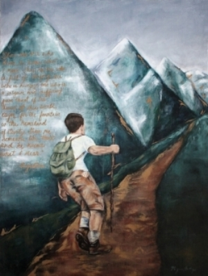 A painting I created to express the themes of  Pilgrimage  and  Climbing the Mountain of the   Lord  which have been endless wells of inspiration and mystery for me. I am drawn to them yet cannot grasp them.
