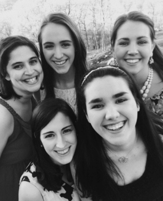 Pictured are my 3 sisters, sister-in-law and me (bottom right).