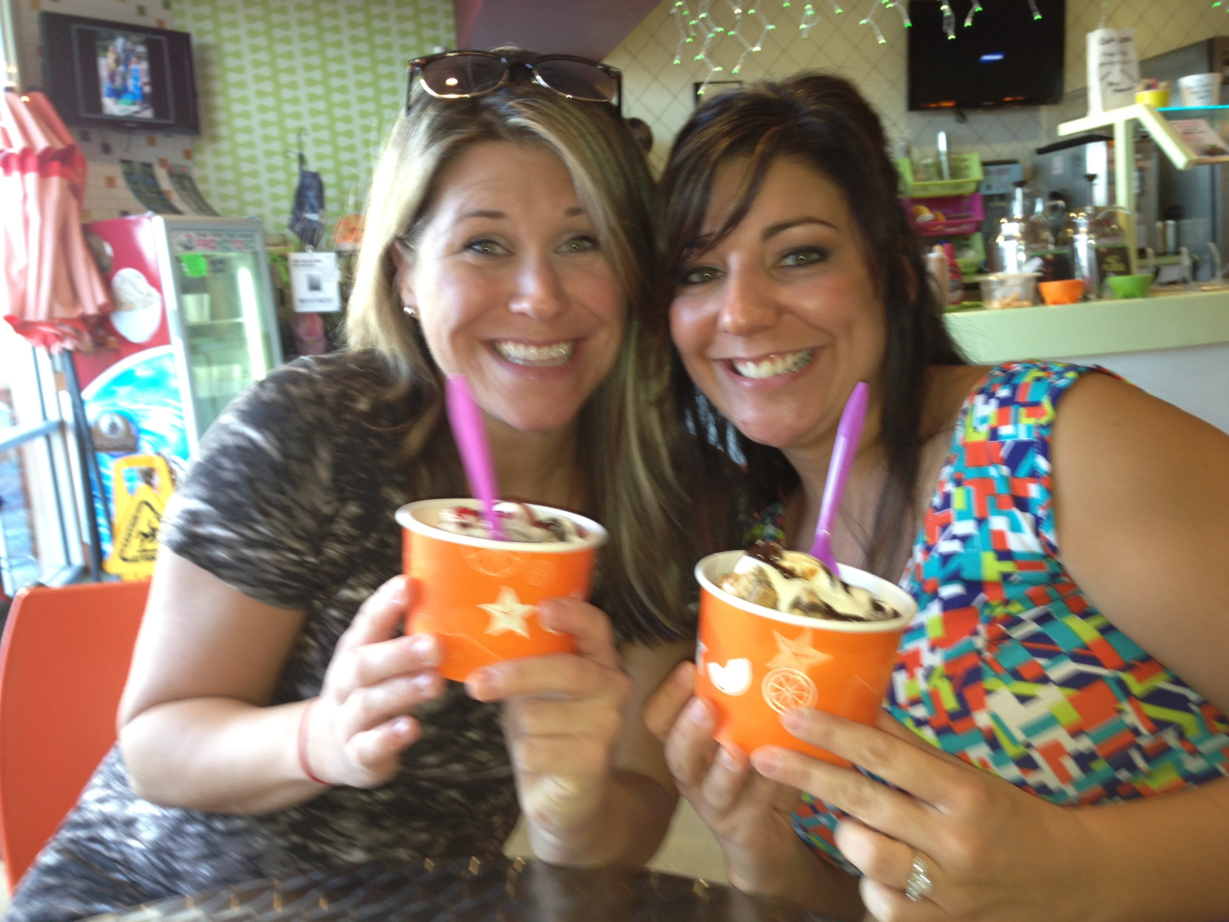 Me & Lauren (aka, Lolly) sharing ice cream together when I visited her in FL after her second child was born.