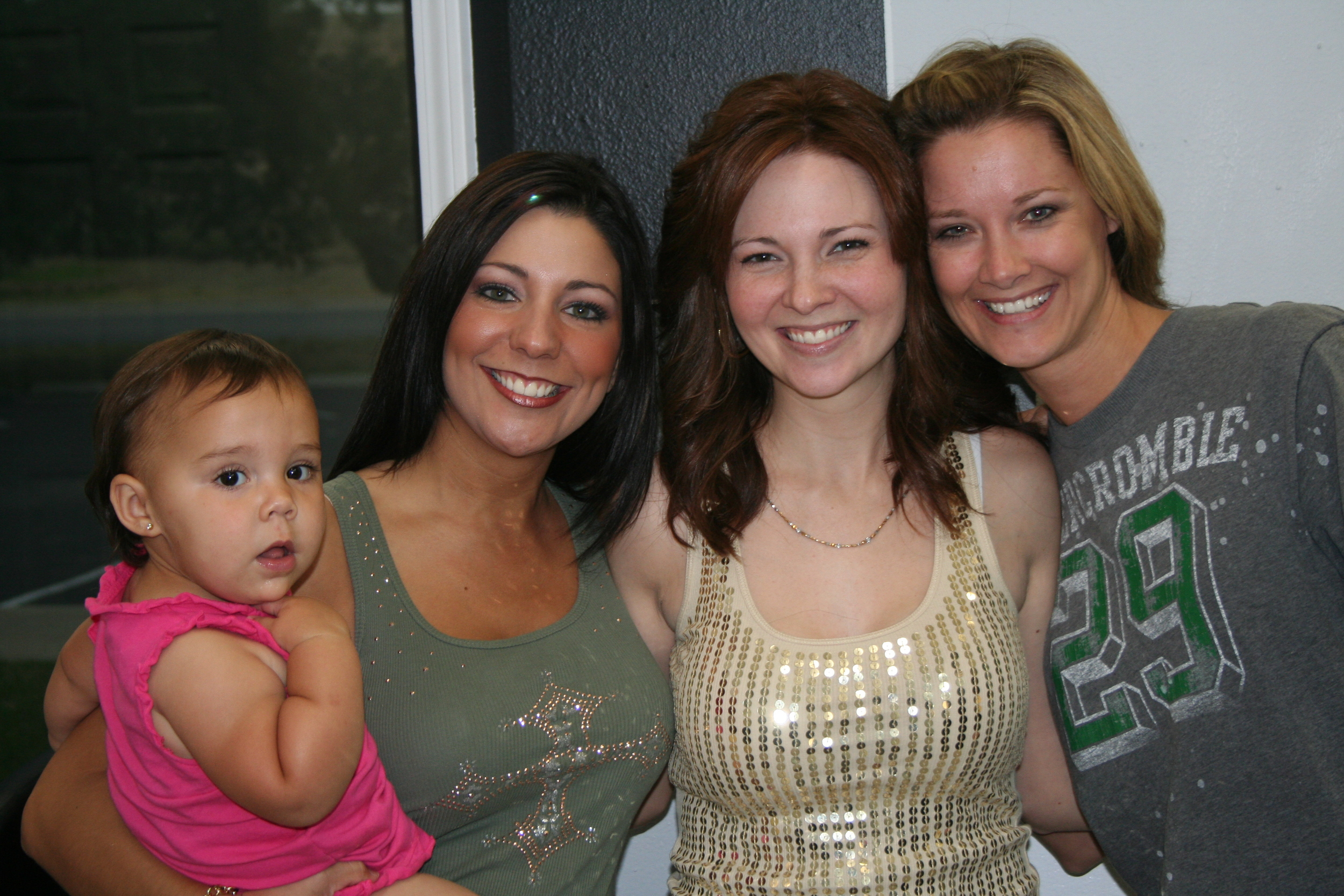 "Jessica (holding Karis), Jenni and Jennifer Wilson. Jennifer Wilson was the ""new"" friend who emerged following my Dad's death in 2005. She called every week just to ask me how I was & to share my experience with her - every week for two years. Now that's a friend!"