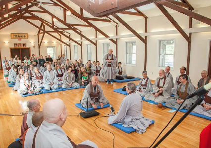 Dharma combat at the transmission ceremony for Terence Croning JDPSN at the Buddha's Birthday Ceremony at Providence Zen Center in April. Terry works as a hospice chaplain in Maine.