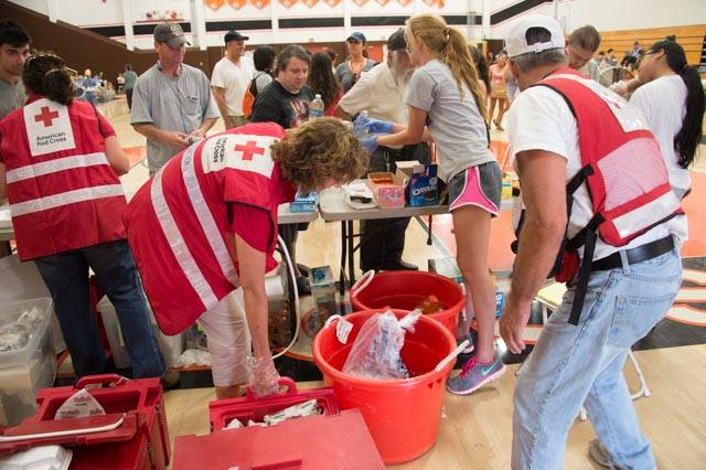 Trained Volunteers at the Red Cross Shelter at Escondido High School. Photo credit: Maggie Buckenmayer, Red Cross volunteer