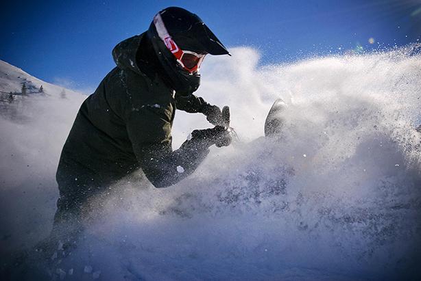 Snow mobilin' Idaho, USA
