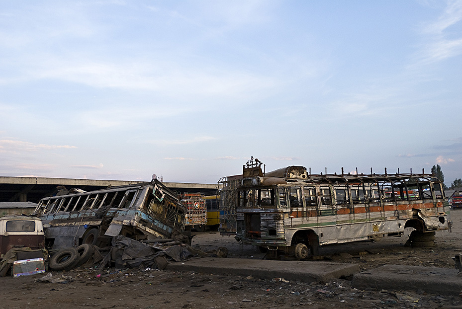 Bombed Out Bus Graveyard, Srinagar Kashmir