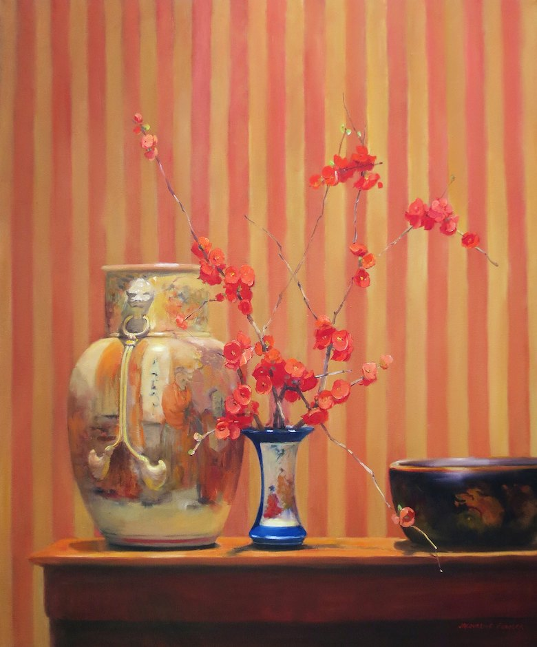 Jacqueline Fowler 'Japonica, Brush Holder and Stripes' 92cm x 76cm $15800.jpg