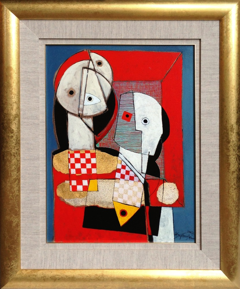 #14273 Henryk Szydlowski   Puppet and the Pupperteer in Red   76cm 98cm