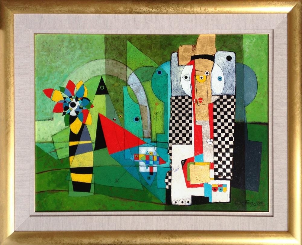 #14256 Henryk Szydlowski   Lunatics on the Green Meadow   103cm x 128cm