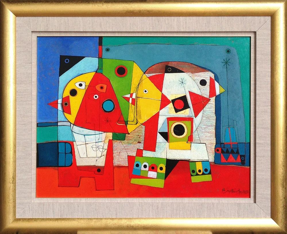 #14260 Henryk Szydlowski   Night of the Colourful Lunatics   92cm x 113cm