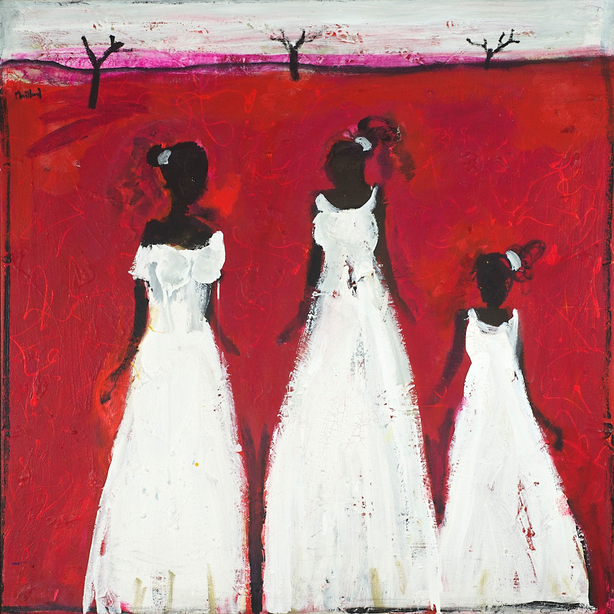 #13474 John Maitland 'Three Girls in White' 105cm x 105cm