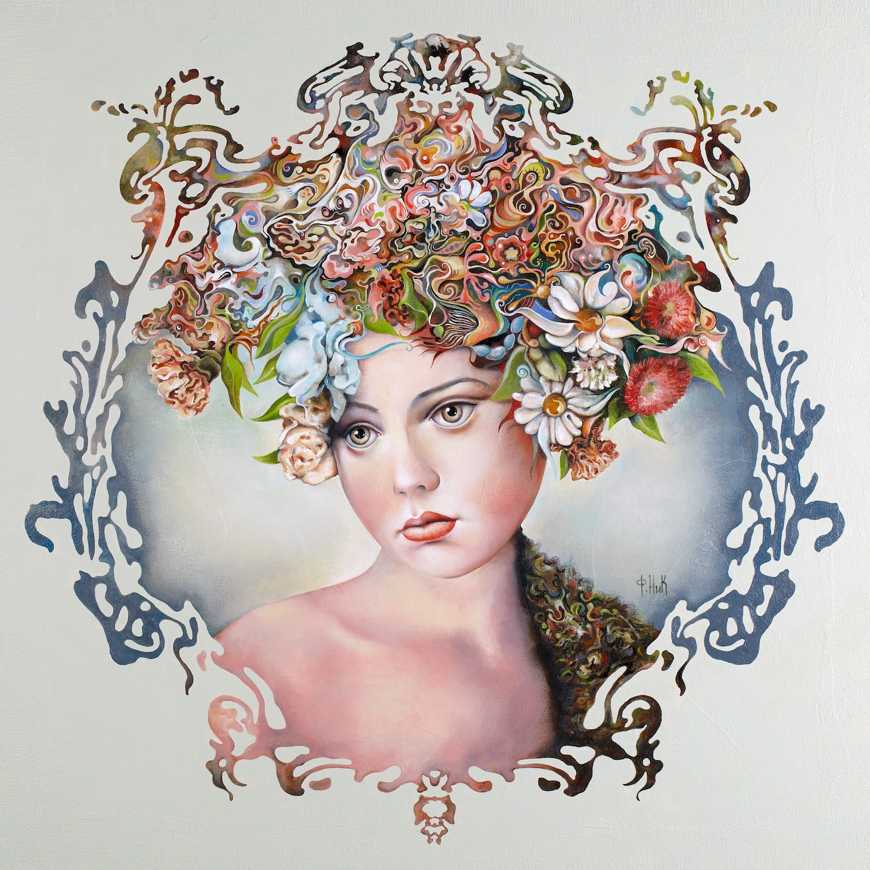 Nick Fedaeff 'Flora' Oil on Canvas 105 x 105cm #14683