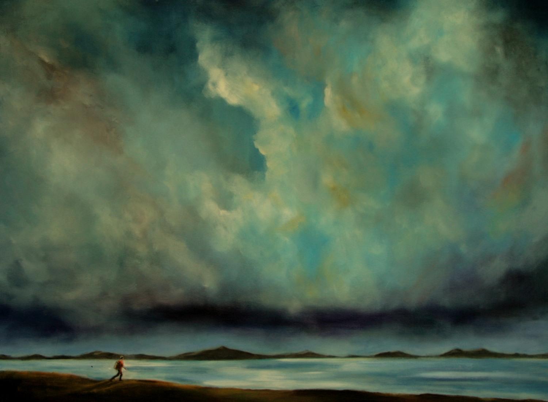 #14646 Haiou 'Before Storm' 75cm x 100cm Oil on Canvas $2680