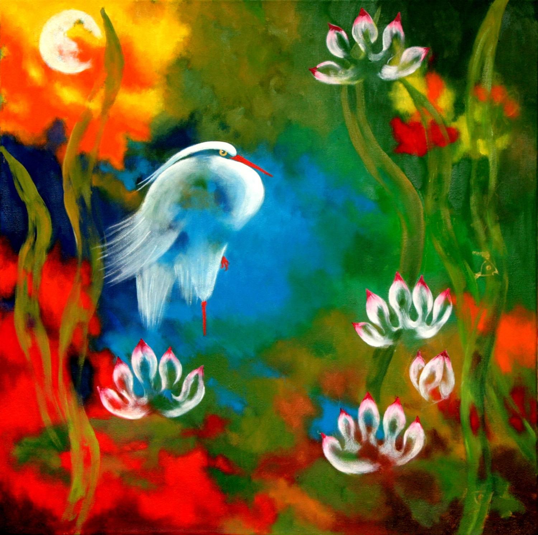 #14651 Haiou 'Water Bird' 61cm x 61cm Oil on Canvas $1780