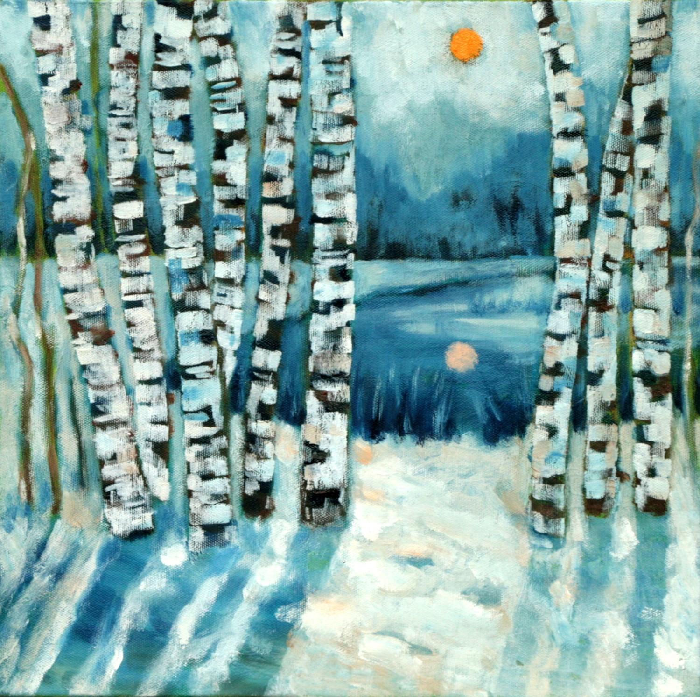 Haiou 'Birch 2' 30cm x 30cm Oil on Canvas