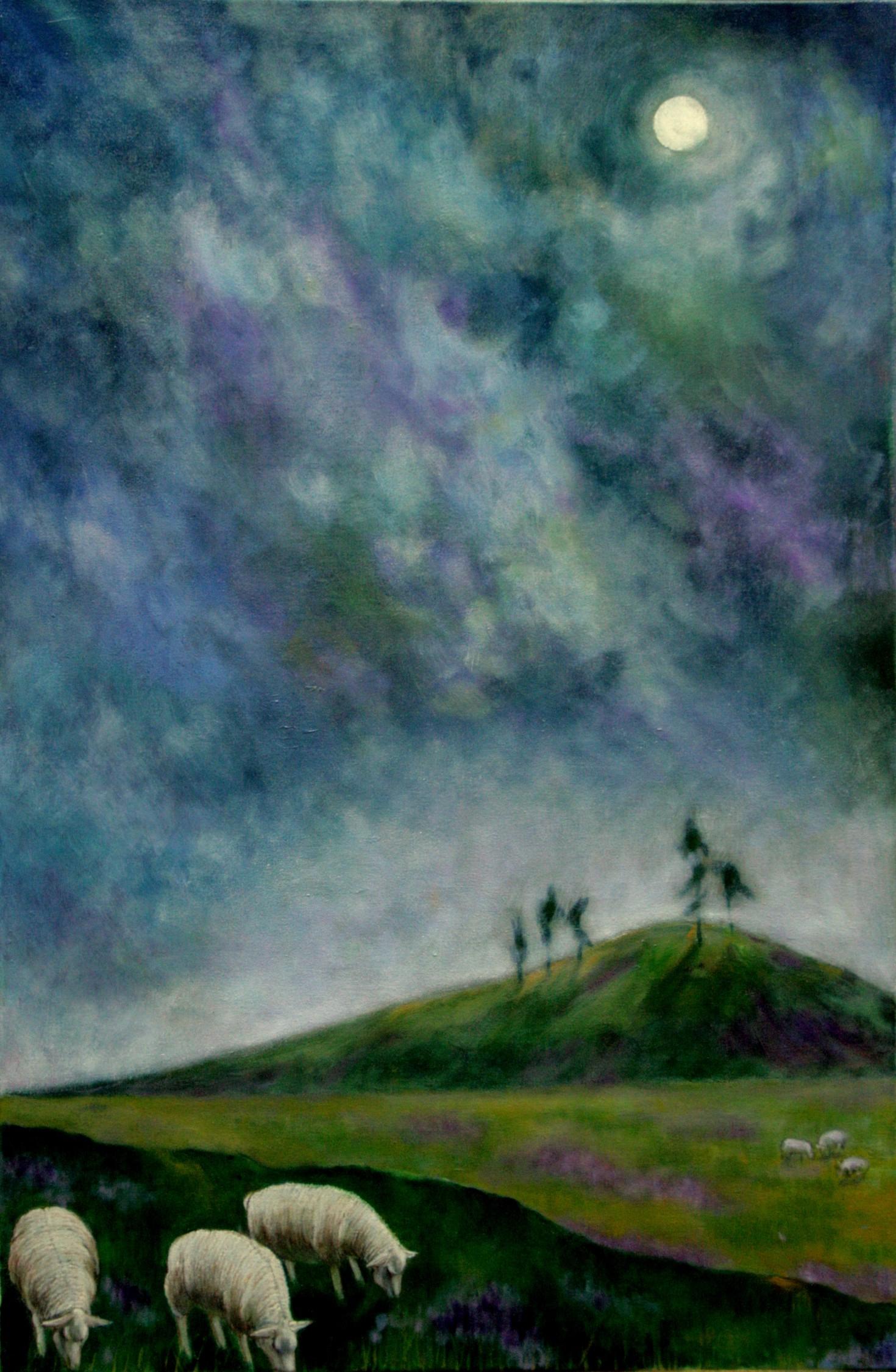 #14648 Haiou 'Three Sheep' 90cm x 60cm Oil on Canvas $1980
