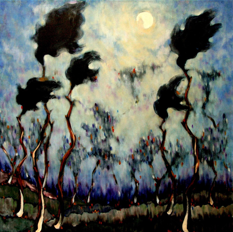 #14649 Haiou 'Mist' 75cm x 75cm Oil on Canvas $1980