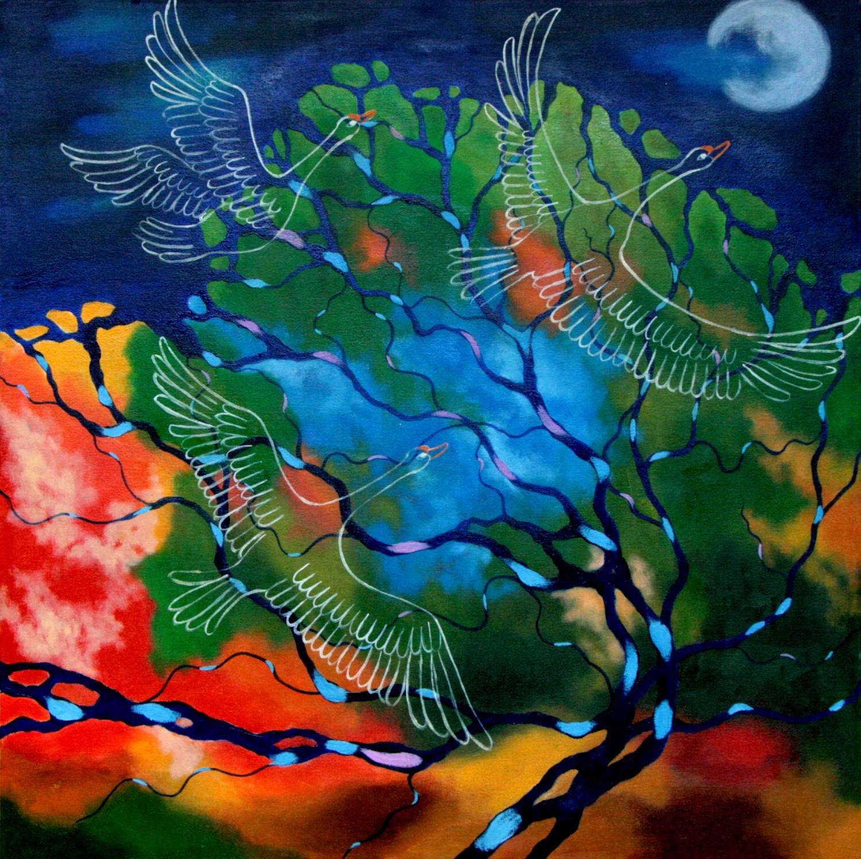 #14650 Haiou 'Birds Kingdom' 70cm x 70cm Oil on Canvas $2380