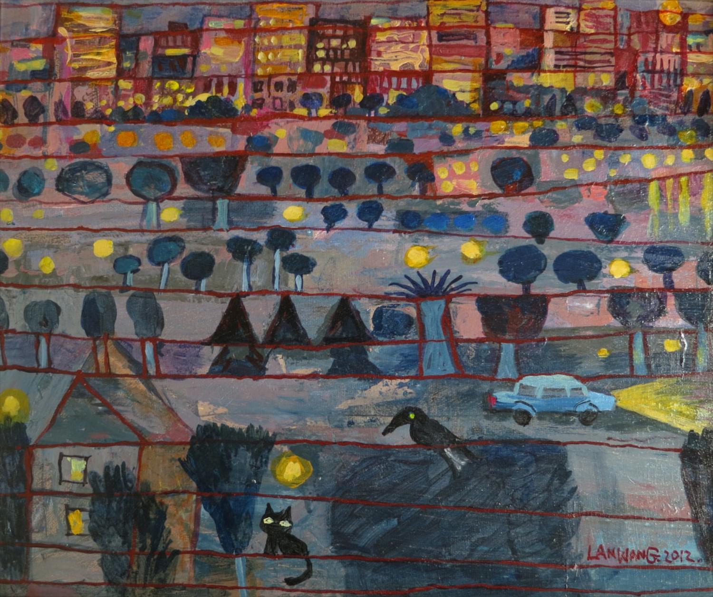 #14640 Wang Lan 'Night' 2012. Canvas. 47x54cm $1380
