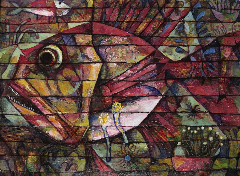 #14641 Wang Lan 'Fish No5' 2013. 48 x 38cm Canvas $1380