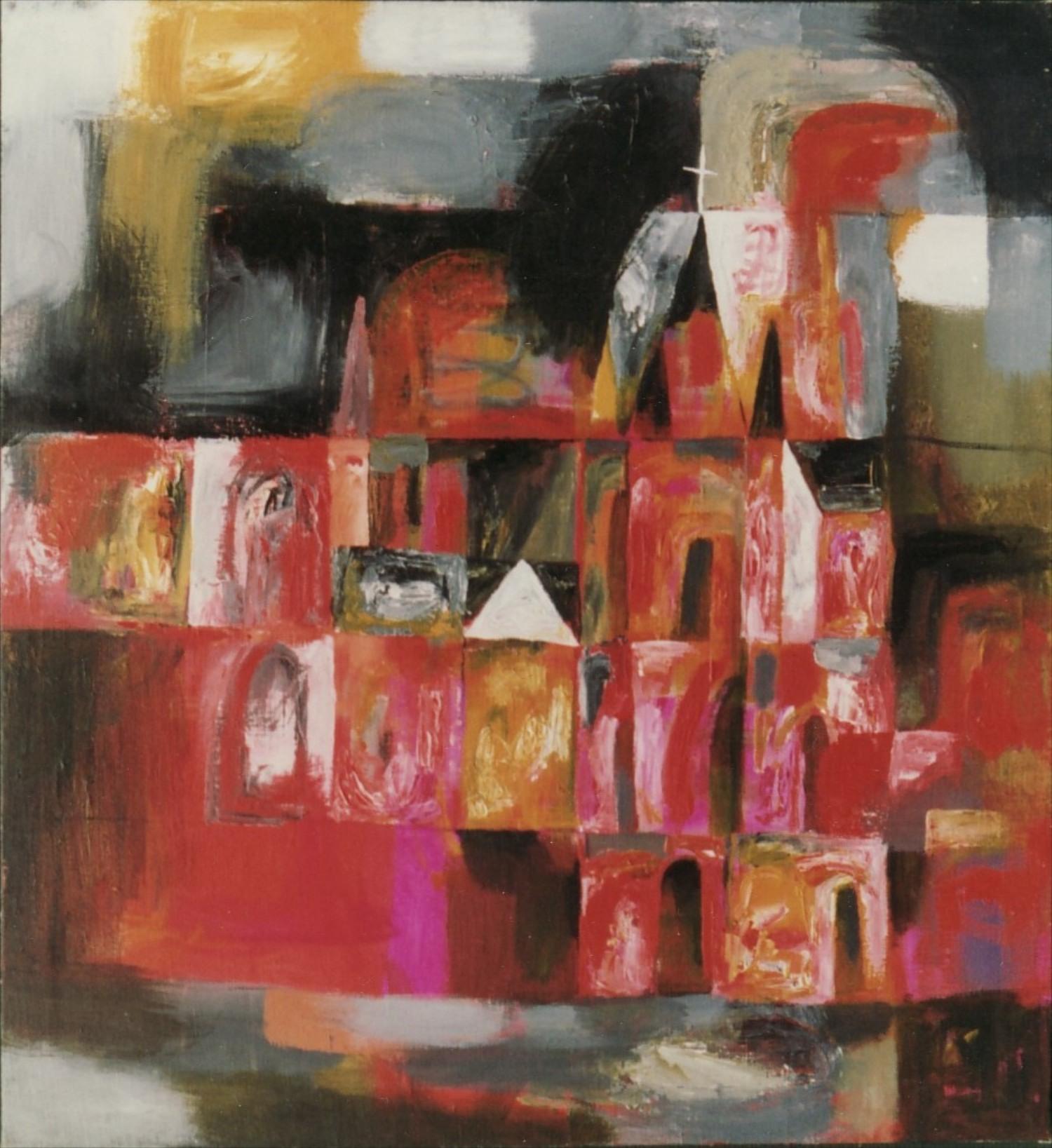 #14638 Wang Lan. BUILDINGS. No.6. 1993. 66x61cm. Canvas $3180