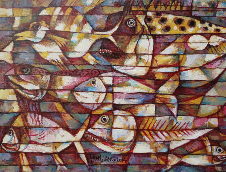 #14642 Wang Lan 'Fish No1' 2014. 48x38cm. Canvas $1380