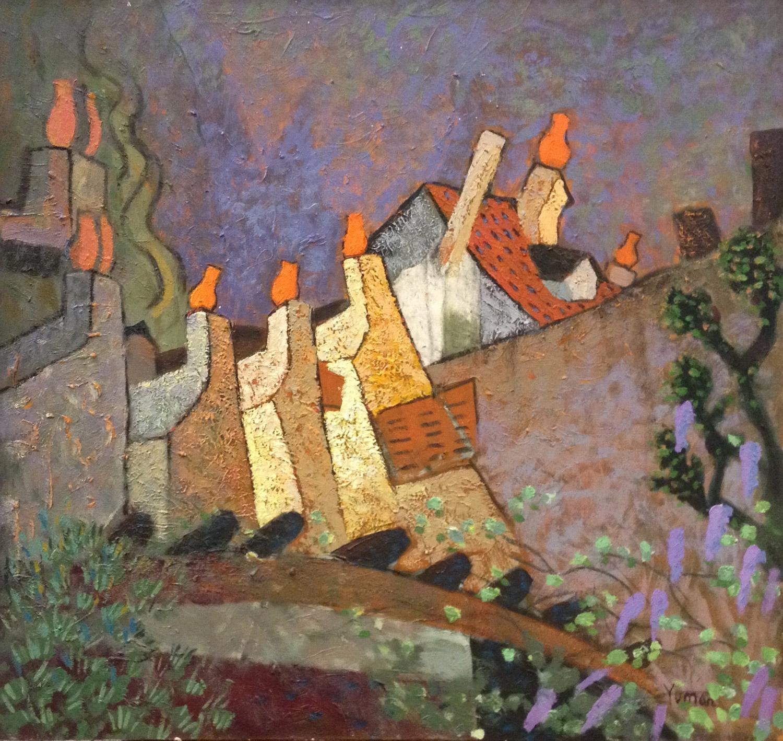 #14664-Yuman Zeng 'Chimneys in Paddington' 65cm x 70cm $3800