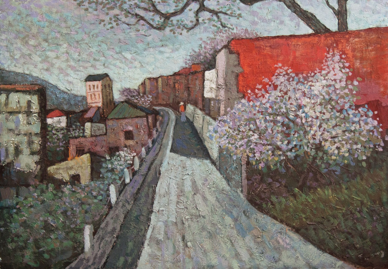 #14666 Yuman Zeng 'The Road with The Red Wall' 135 x 73cm $4800