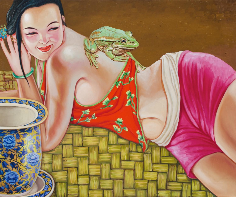 #14660 Hu Ming 'Jade Frog' Mixed media $7,800