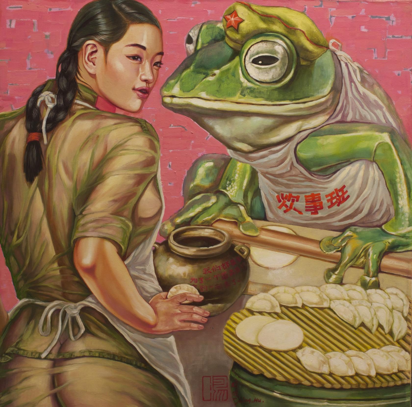 #14585 Hu Ming 'Dumplings' Oil on canvas $8800