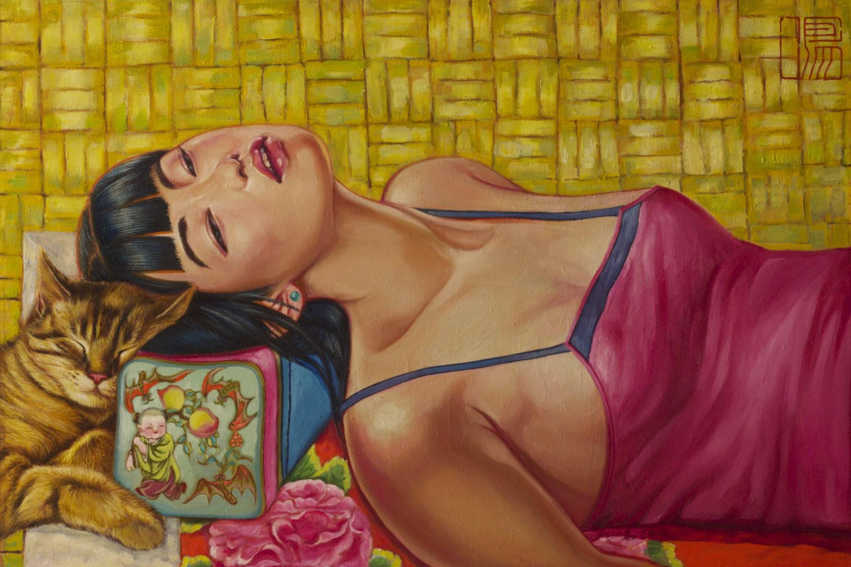 #14584 Hu Ming 'Resting' Oil on Canvas 56cm x 71cm $7800