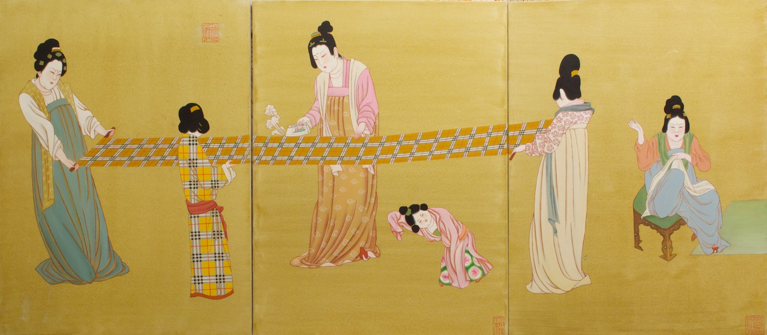 #14587 Hu Ming 'Maid in China' Oil on canvas (3 panles) 101cm x 227cm$10800