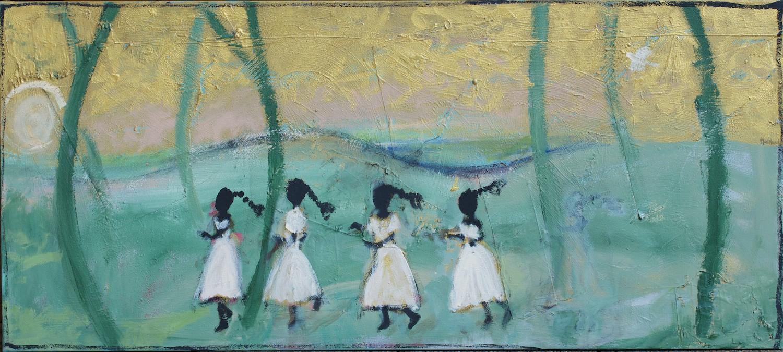 #14741 John Maitland 'Golden Day' Mixed Media on Canvas 80cm x 180cm
