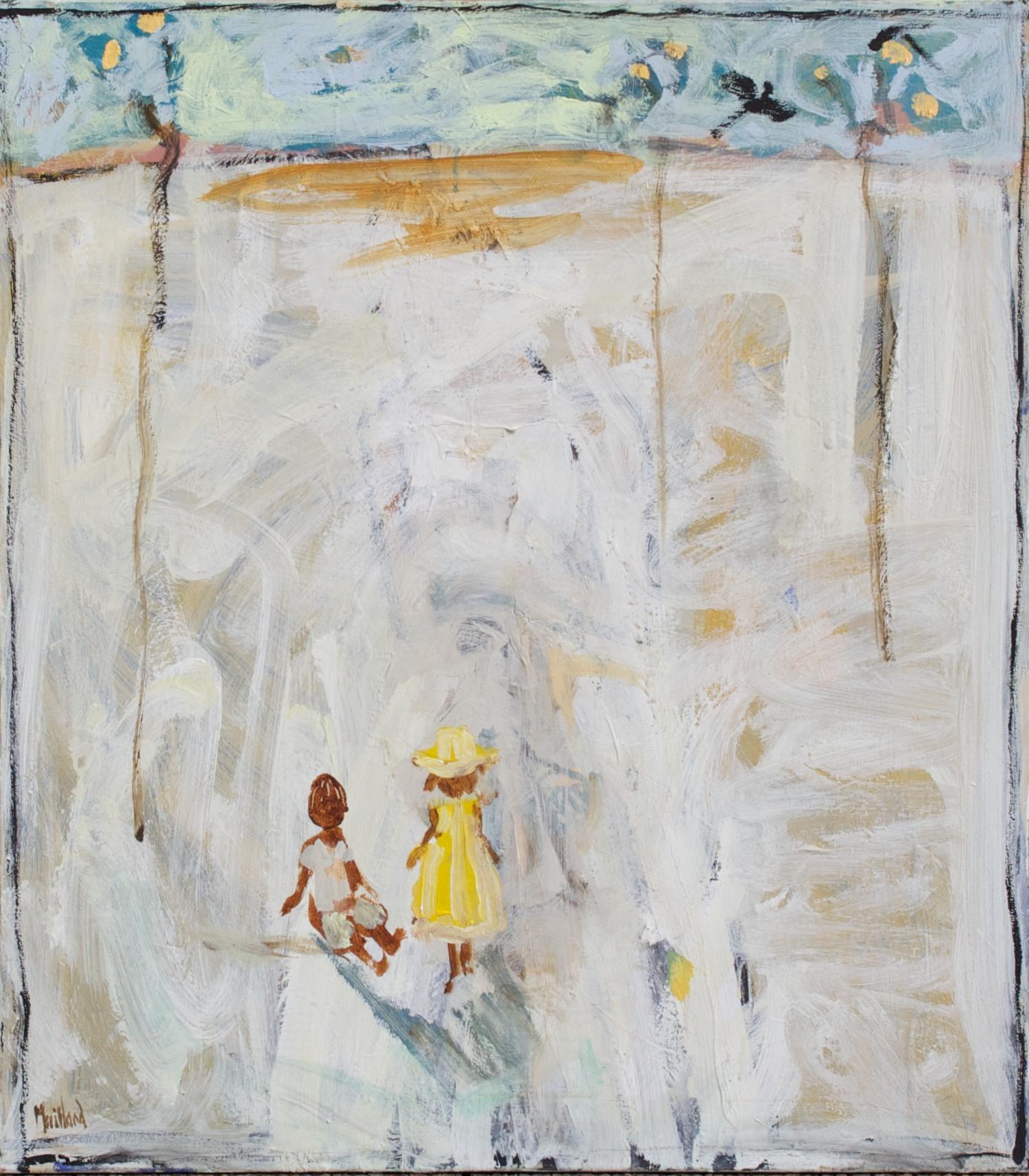 #14740 John Maitland 'Little Yellow Trees' Mixed media on canvas 85cm x 75cm