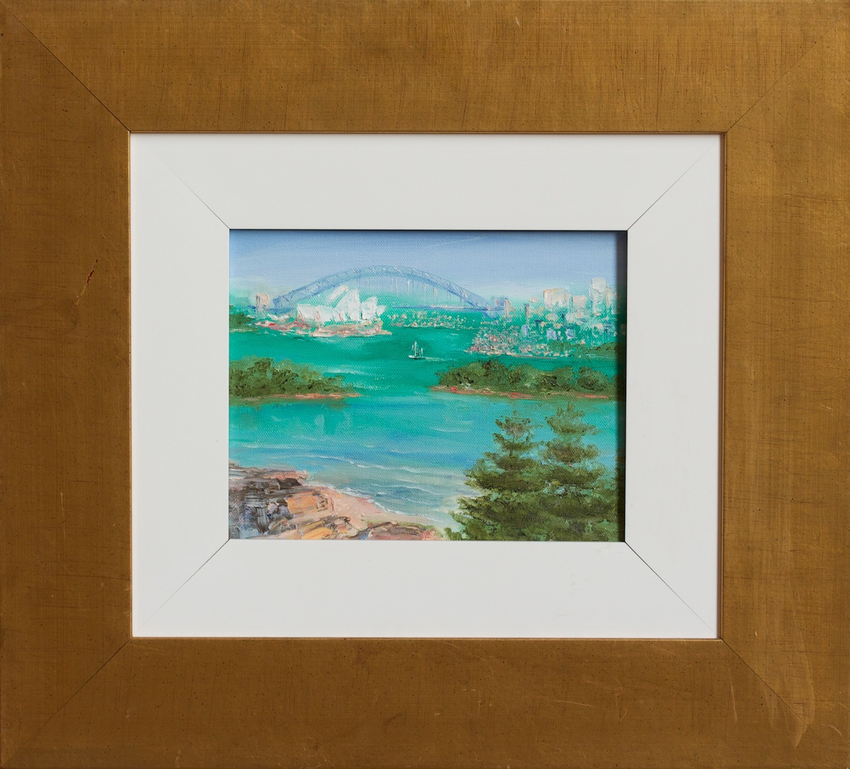 #8856 Lorraine Hamilton 'Sydney Harbour IV' Oil on Canvas 46cm x 51cm was $880 now $440