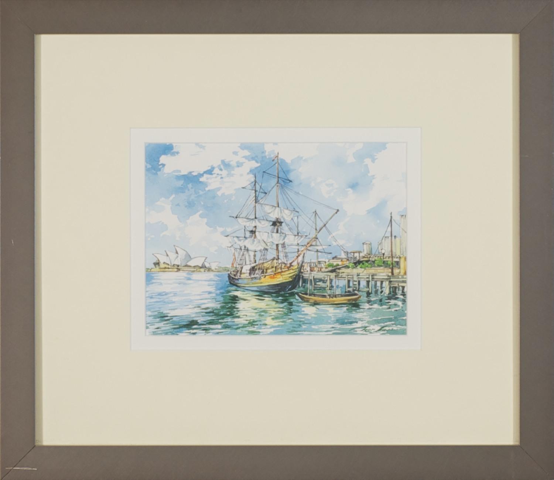 #13043. Tyer Sava. Sydney Harbour. Watercolour 40cm x 46cm. Was $700 Now $350