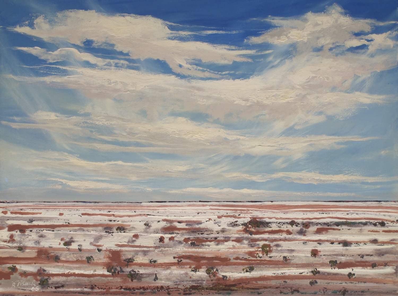 #12997 RFF4. Robert Fisher. Lake Eyre - A Geologist Trek. Oil on Canvas. 91cm x 122cm. Was $4950 Now $2850