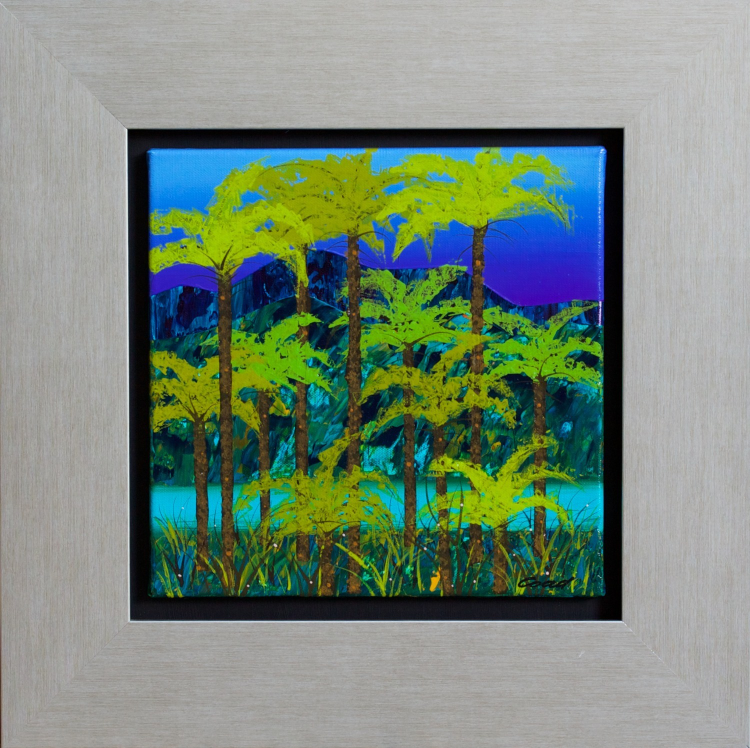 #14545 Peter Coad 'Tree Fern & Creek Bed Study Blue Mountains' Mixed Media 52 x 52 Was $2,900 Now $2240