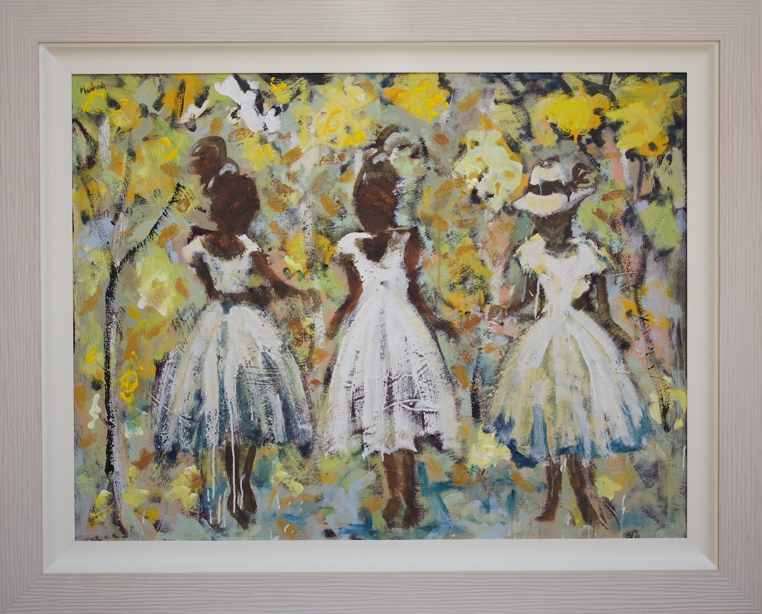 John Maitland 'Friends and Little Yellow Trees' 150cm x 120cm (#14882)