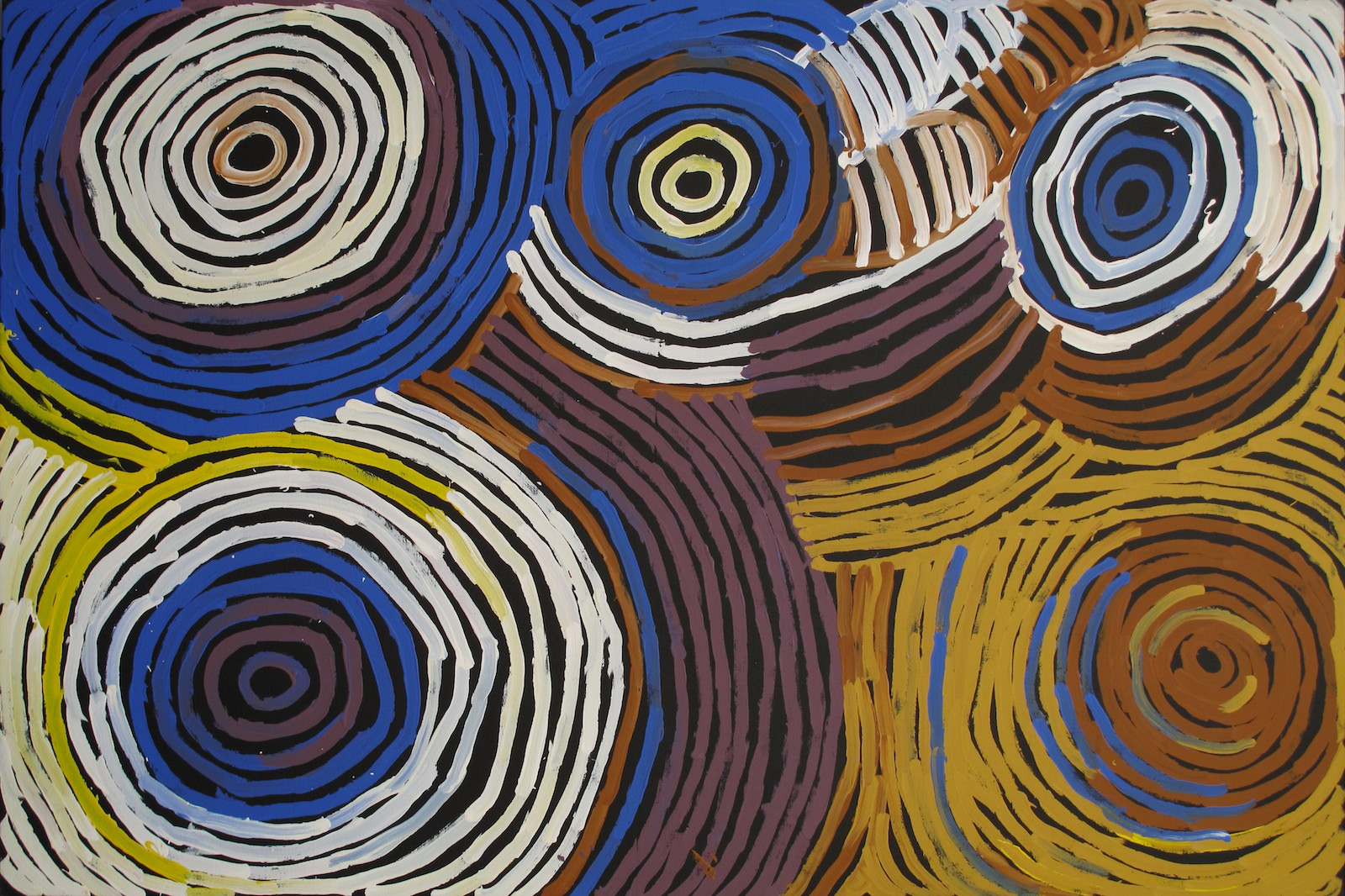Minnie Pwerle 'Body Paint' 121cm x 180cm #10205- A large work in strong blue tones