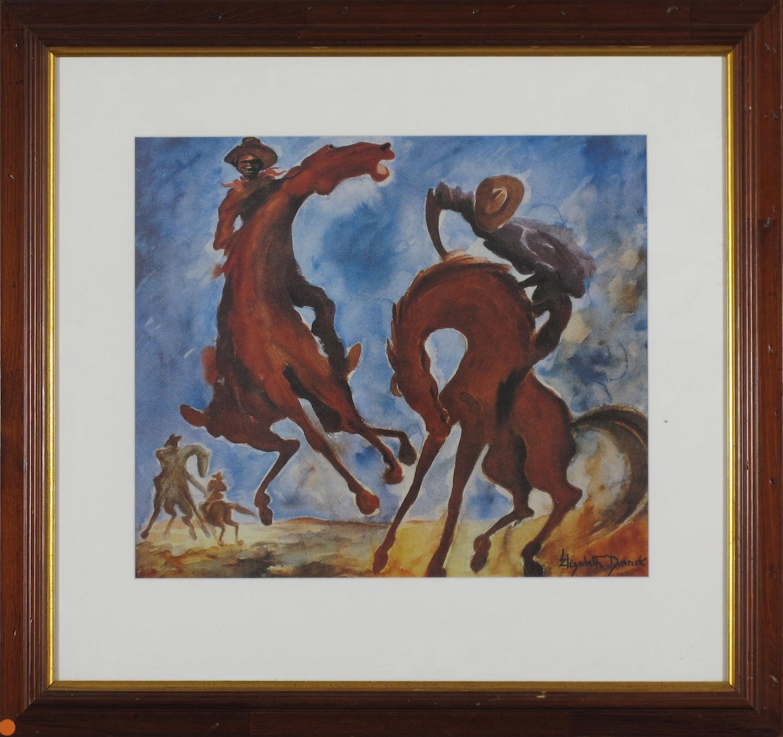 #12926 ED15. Elizabeth Durack. Breaking Colts. Fine Art Print. 63cm x 67cm.