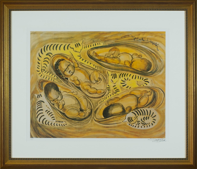 #13094 Elizabeth Durack. Cats and Cradles. Signed AP. 68cm x 80cm.