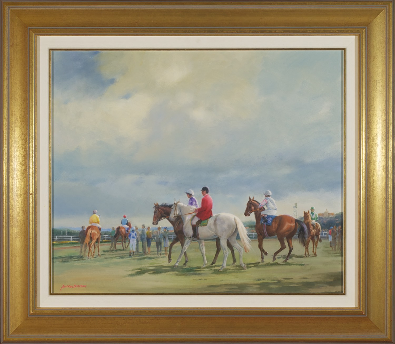 #6041. Alister Simpson. Cloudy Day at Royal Randwick. 71cm x 81cm.