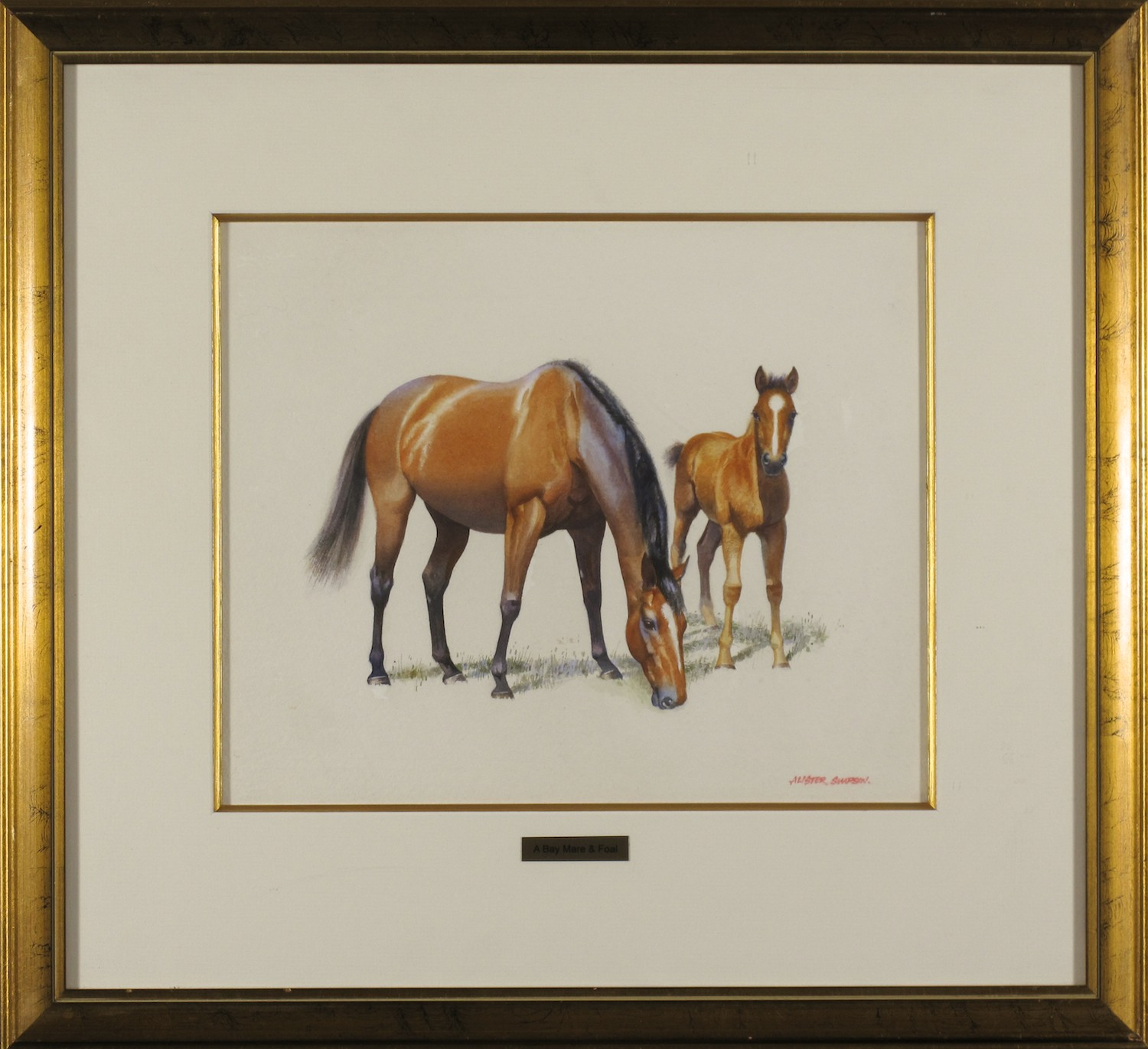 #10733 Alister Simpson. A Bay Mare and Foal. 48cm x 52cm.