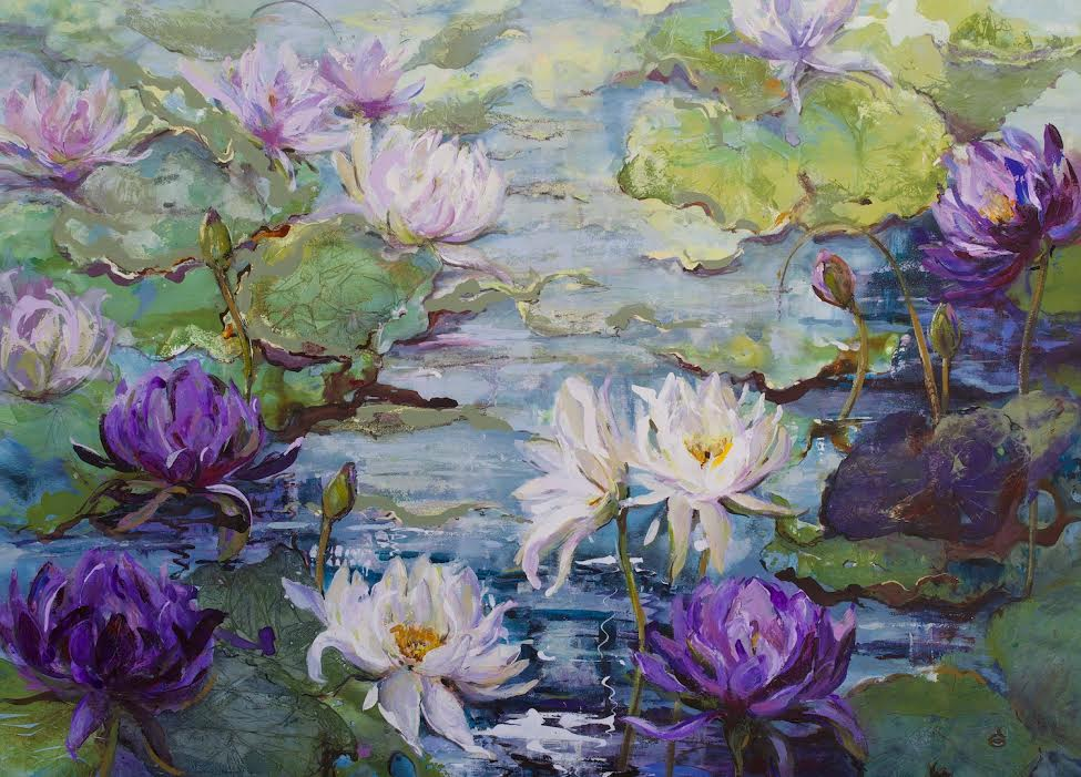 14636 Dianne Ogg ' Nymphenaea Blue Waterlillies' 135cm x 175cm