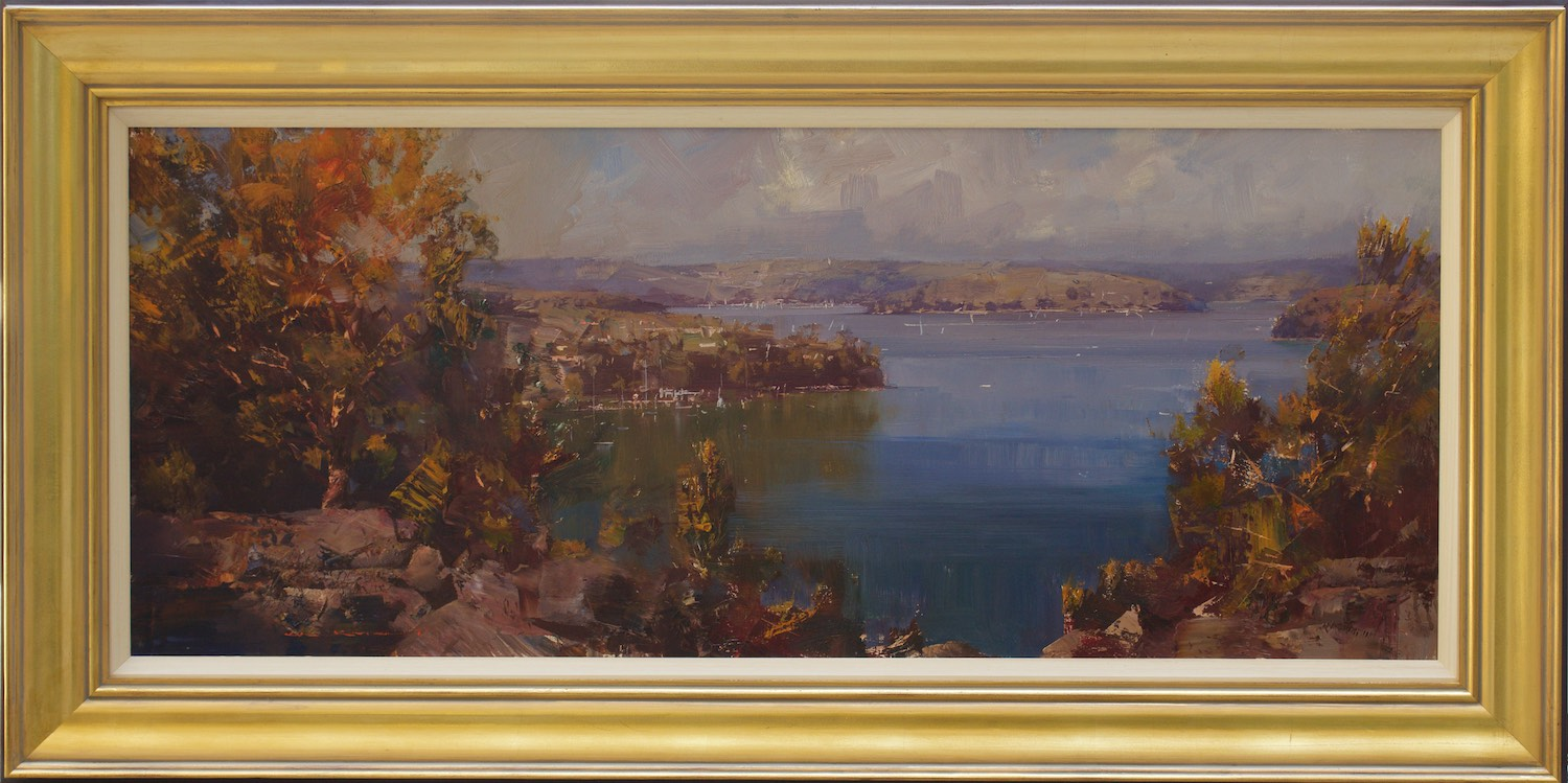 #14958 Ken Knight 'Pittwater from McKay Reserve' Oil on Board 60cm x 119cm