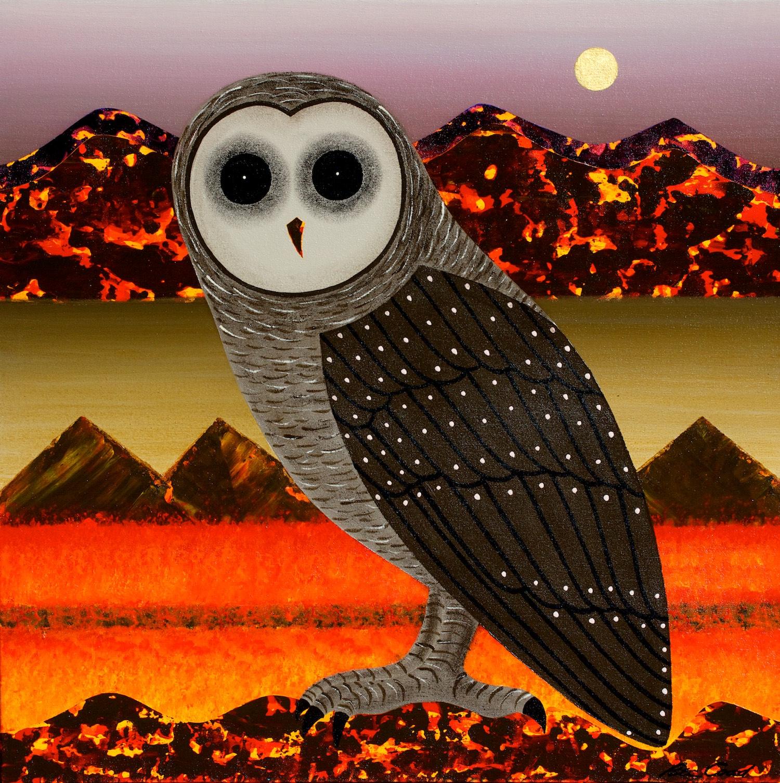 Peter Coad 'Owl Study - Coorong Moon' 75cm x 75 #14924